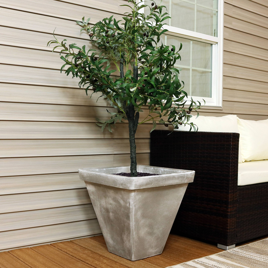 Sunnydaze Hamilton Outdoor/Indoor Planter Pot, Heavy-Duty Double-Walled Polyresin with UV-Resistant Antique Quarry Finish, Multiple Options Available