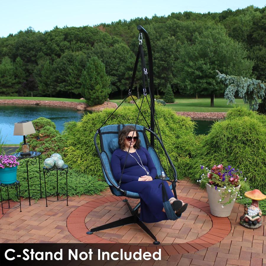 Sunnydaze Hanging Hammock Chair Swing,  Armrests, Drink Holder, Side Pouch and Footrest