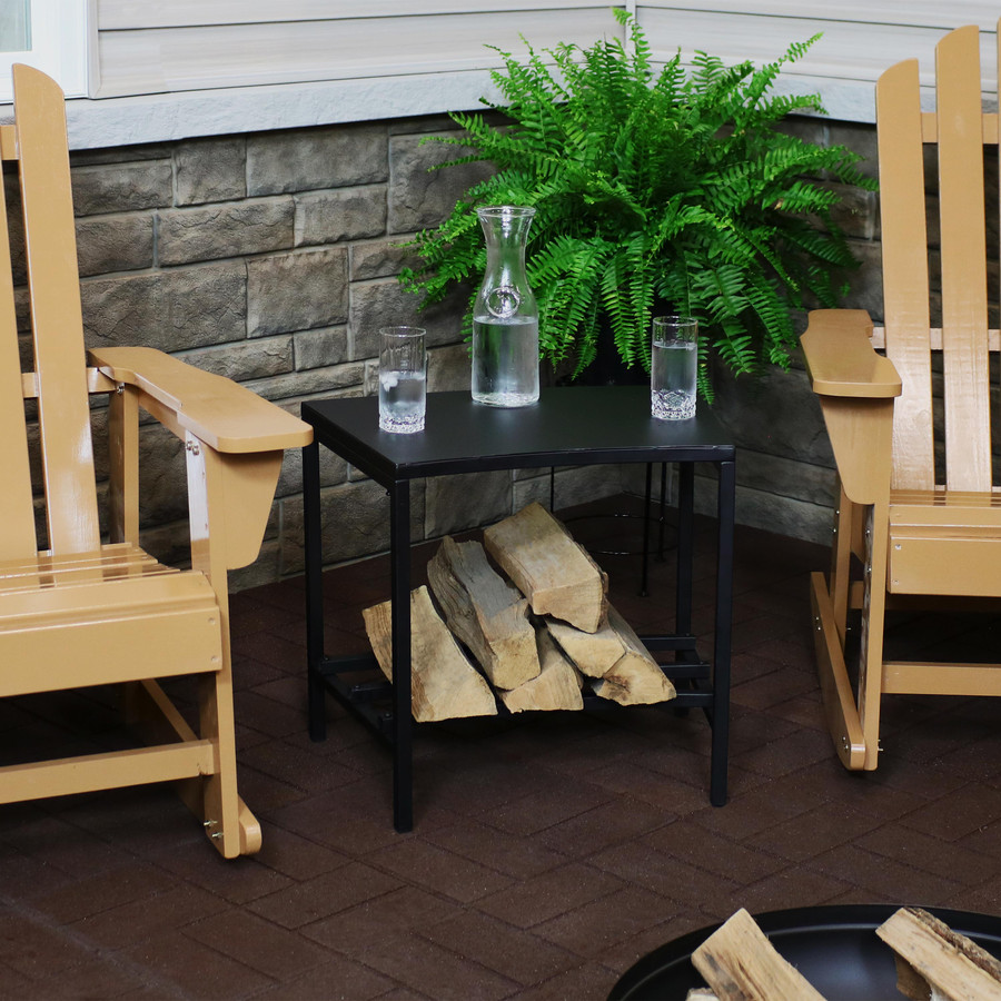 Steel Outdoor Fire Pit Side Table with Firewood Log Rack Shelf