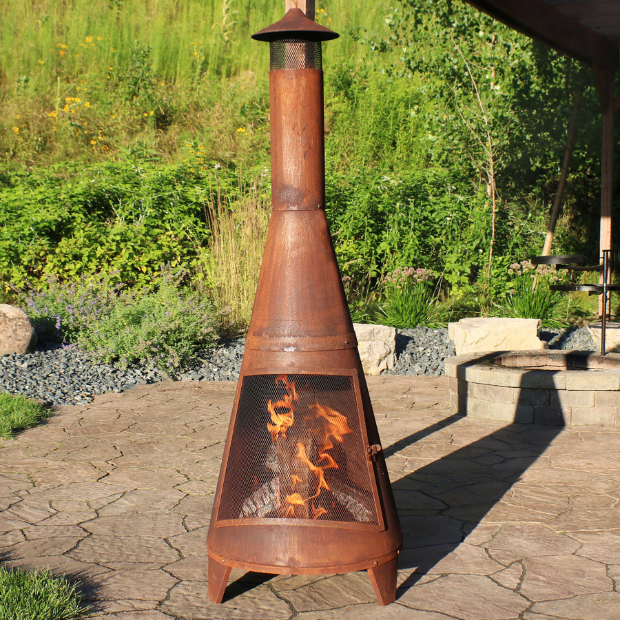 Rustic Outdoor Wood-Burning Backyard Chiminea Fire Pit