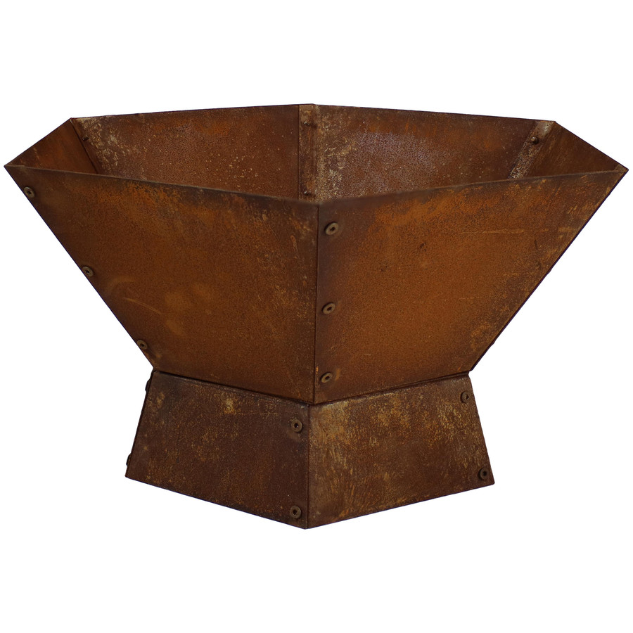 Sunnydaze Rustic Steel Hexagonal Fire Pit Bowl, 23-Inch
