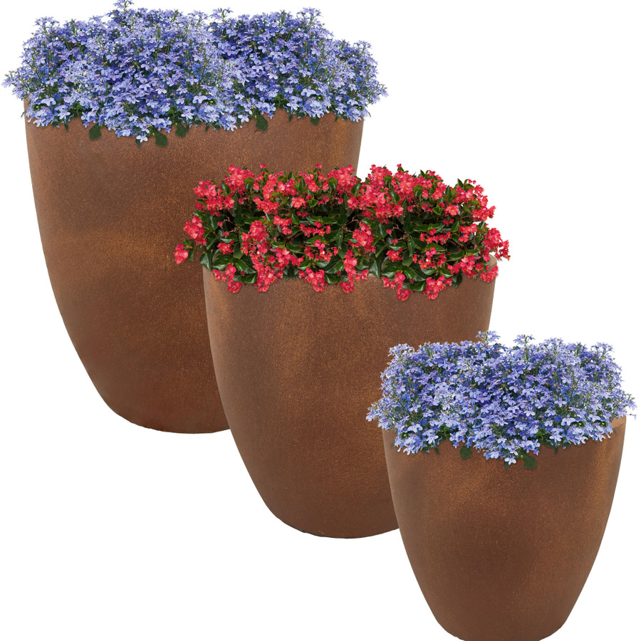 Textured Rust Round Flower Pot, Set of 3