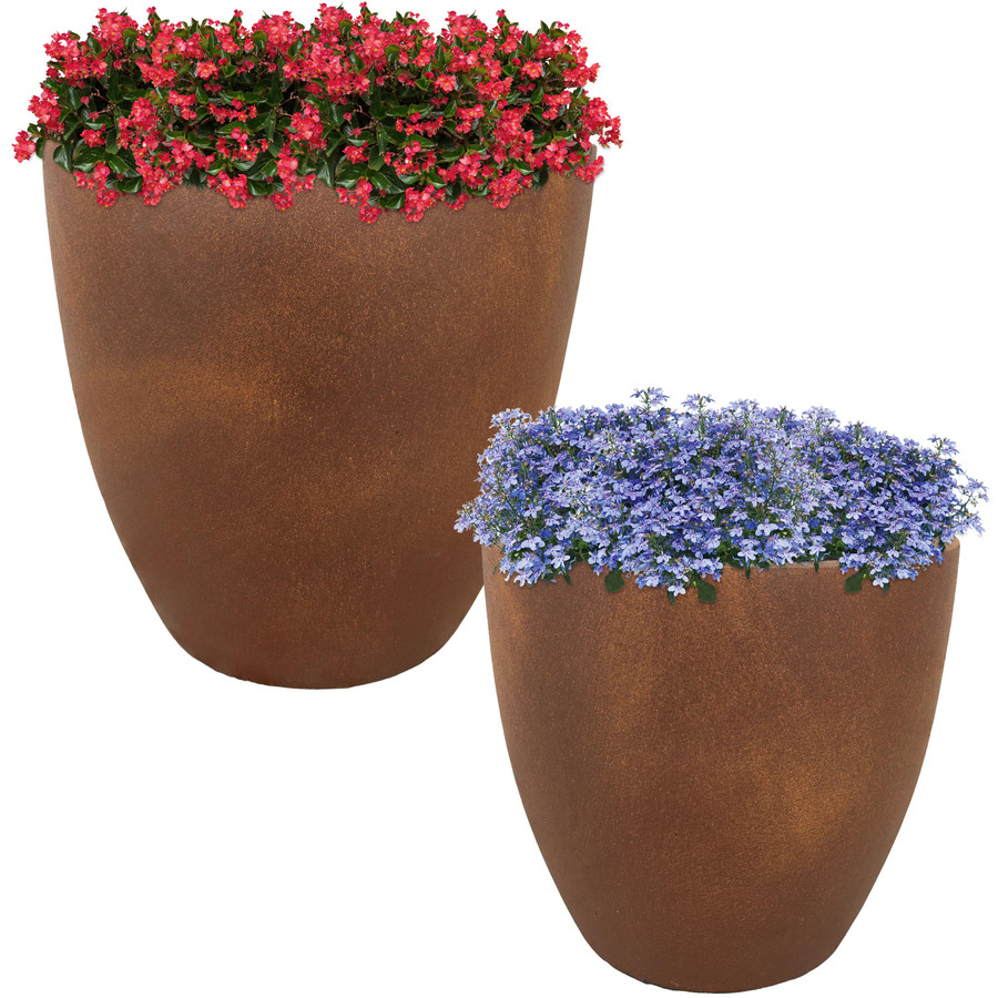 "Set of One 15"" and One 17"" Planters"