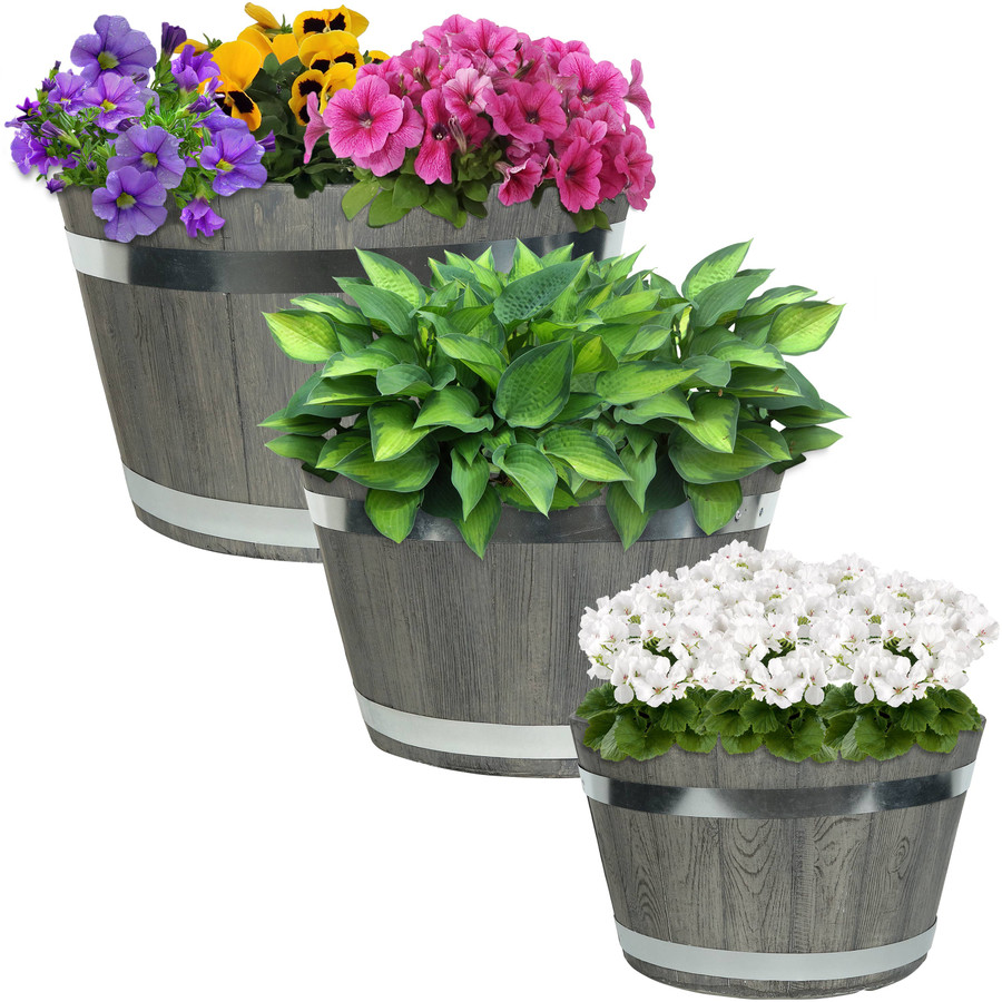 Gray Fiber Clay Indoor/Outdoor Round Barrel Planter Flower Pot, Set of 3
