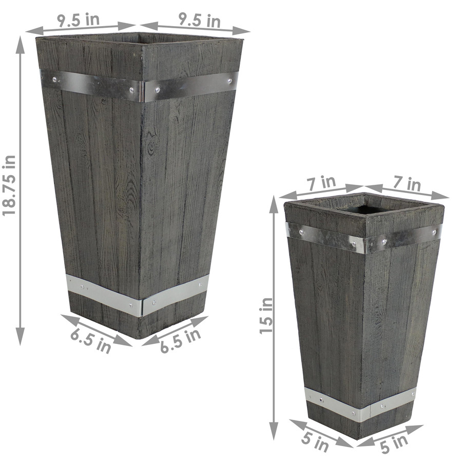 Sunnydaze Courtyard Fiber Clay Square Barrel Planter Flower Pot, Durable Indoor/Outdoor Sets with Wood Plank Design