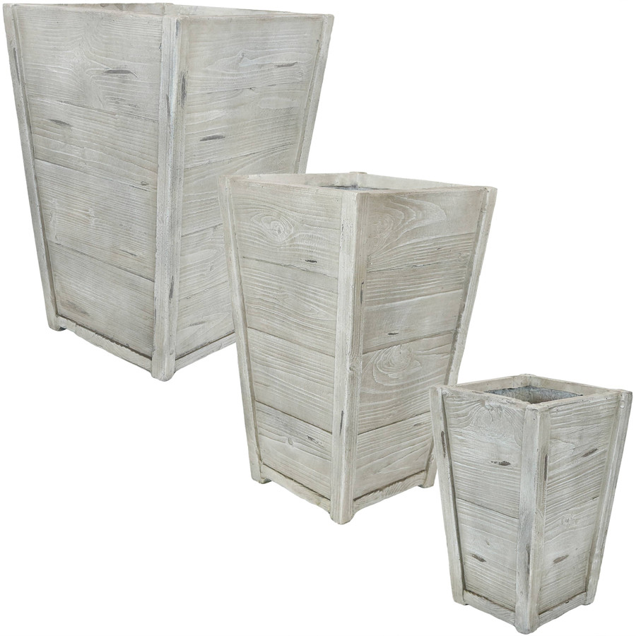 Fiber Clay Indoor/Outdoor Tall Square Faux Wood Planter Flower Pot, Set of 3