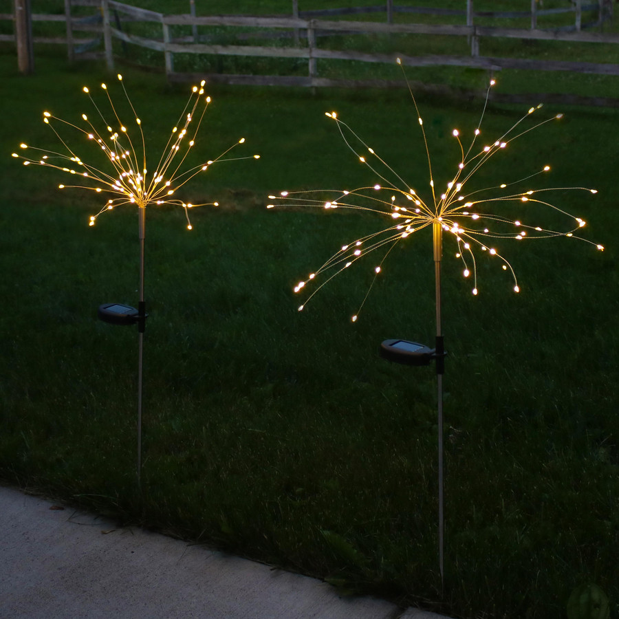 Solar Outdoor Warm White LED Starburst Stake Light, Nighttime View