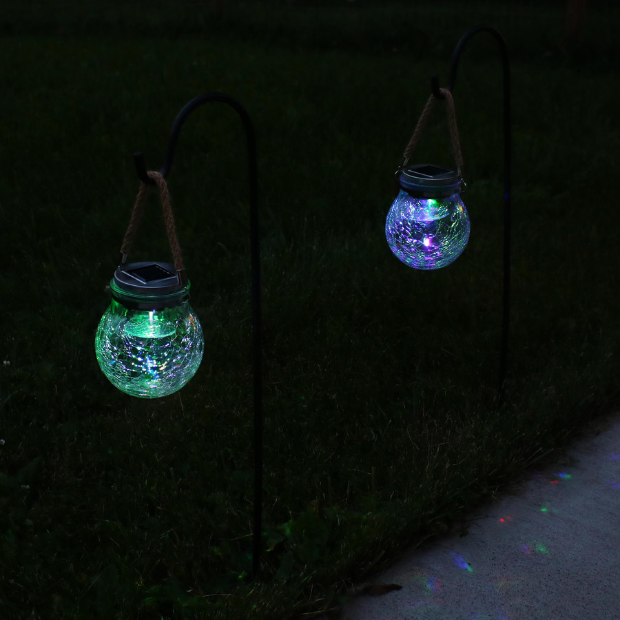 Outdoor Round Crackled Glass Color-Changing Solar LED Light with Shepherd Hook, Nighttime