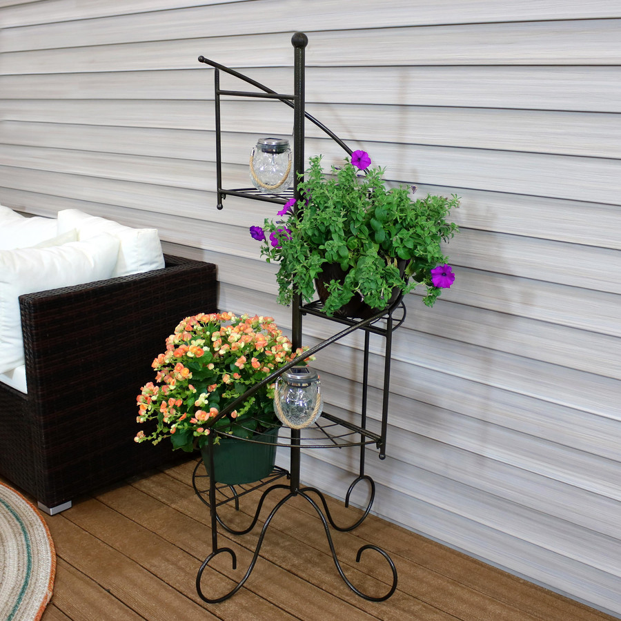 Outdoor Round Crackled Glass Color-Changing Solar LED Light, Shown on Plant Stand (Plant Stand NOT Included)