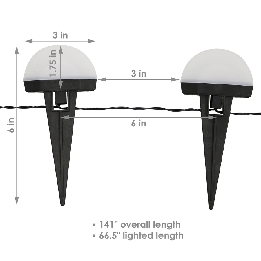 White Solar LED Landscape Path Lights, Dimensions