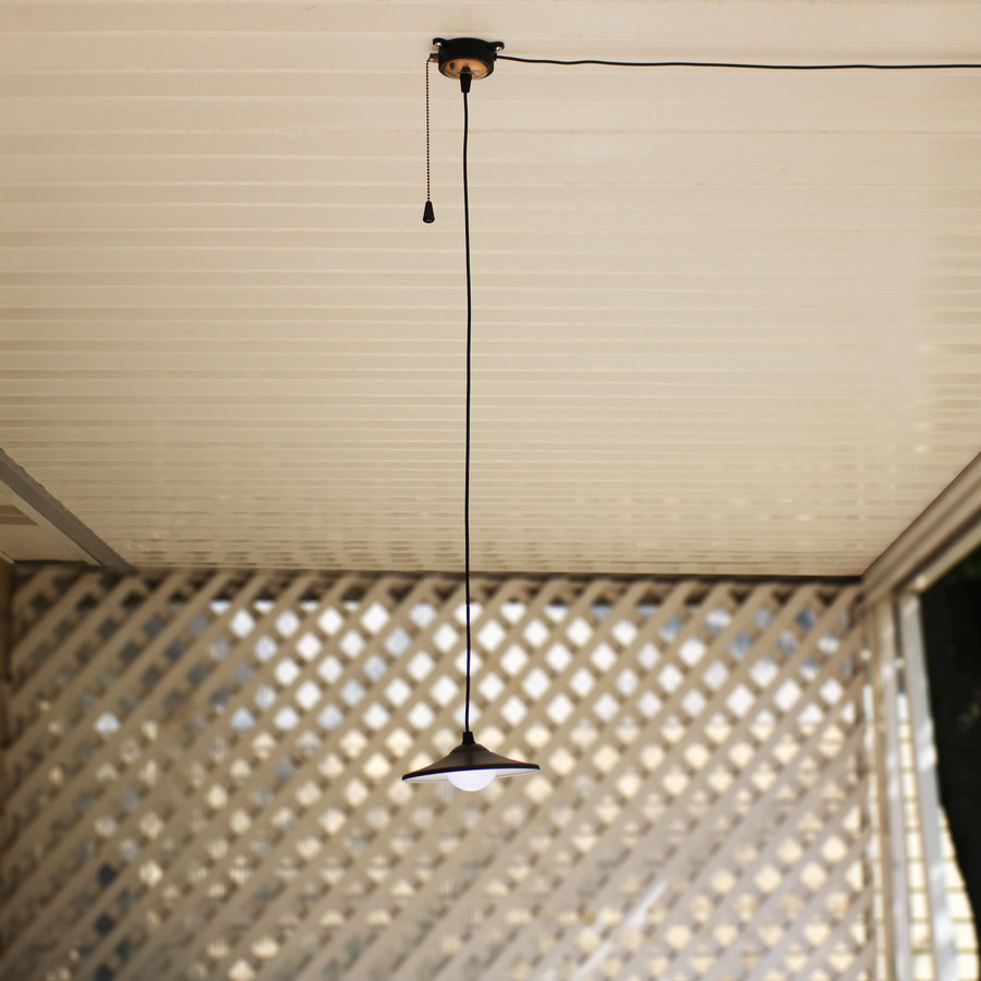Vintage Solar LED Ceiling Pendant Light with Remote Control and Pull Cord