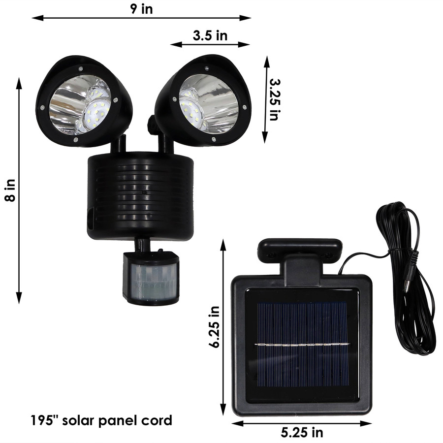 Outdoor Solar LED Motion Sensor Dual Head Security Light - Detailed Dimensions