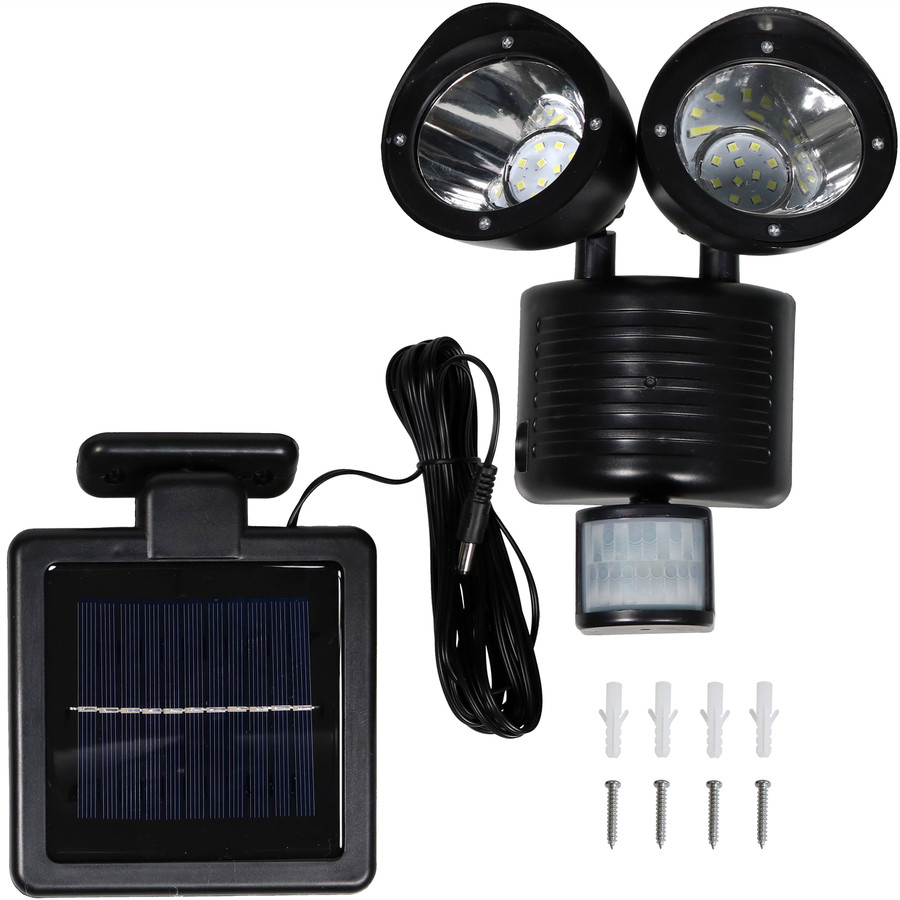 Outdoor Solar LED Motion Sensor Dual Head Security Light - Included Pieces