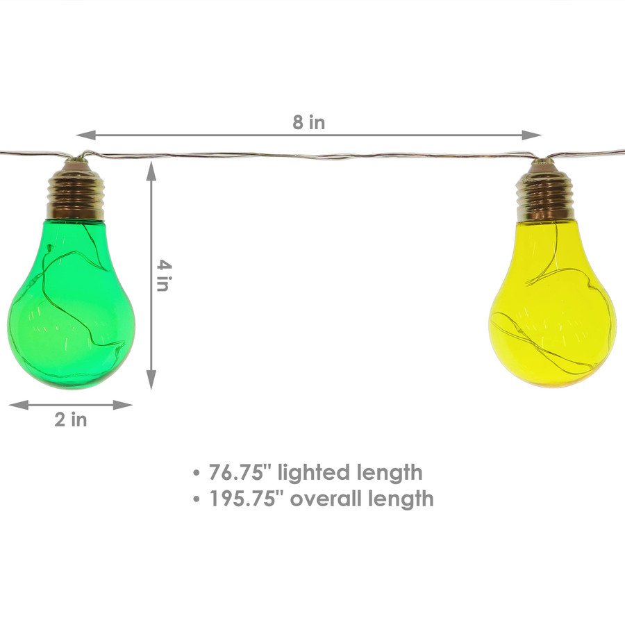 Solar LED Outdoor String Lights with 10 Multi-Color Light Bulbs - Detailed Dimensions