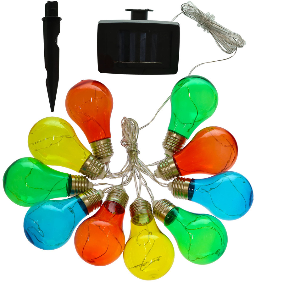 Solar LED Outdoor String Lights with 10 Multi-Color Light Bulbs - Pieces