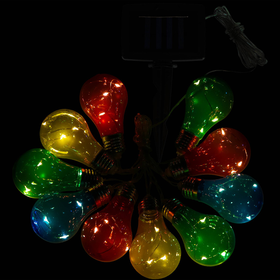 Solar LED Outdoor String Lights with 10 Multi-Color Light Bulbs, Nighttime