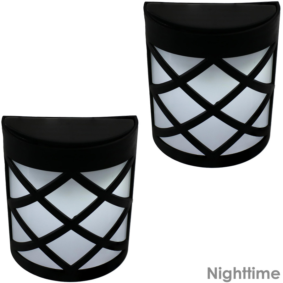 Outdoor Solar LED Wall Mount Lights, Nighttime View