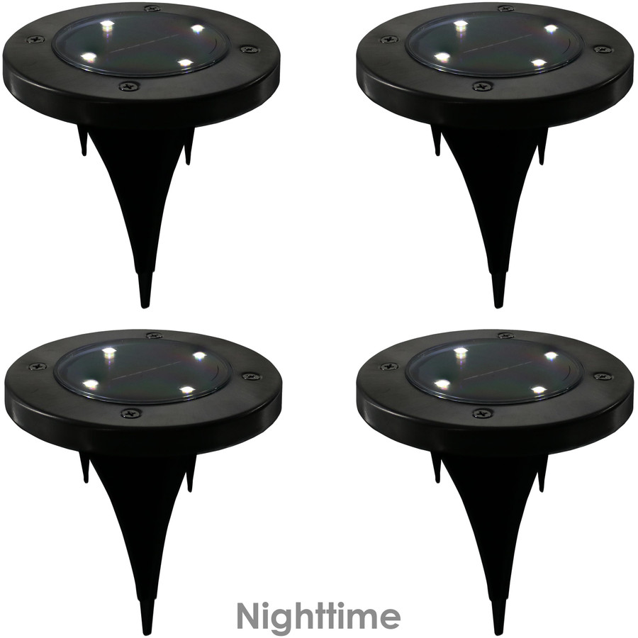 Outdoor Solar LED Stainless Steel Disk Lights, Nighttime View