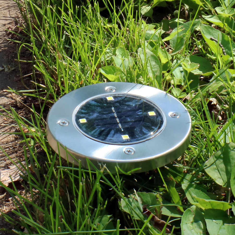 Closeup of Solar LED Stainless Steel Disk Light
