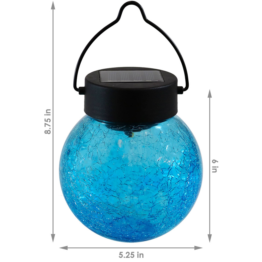 Dimensions of Round Blue Crackled Glass Solar Light Jar