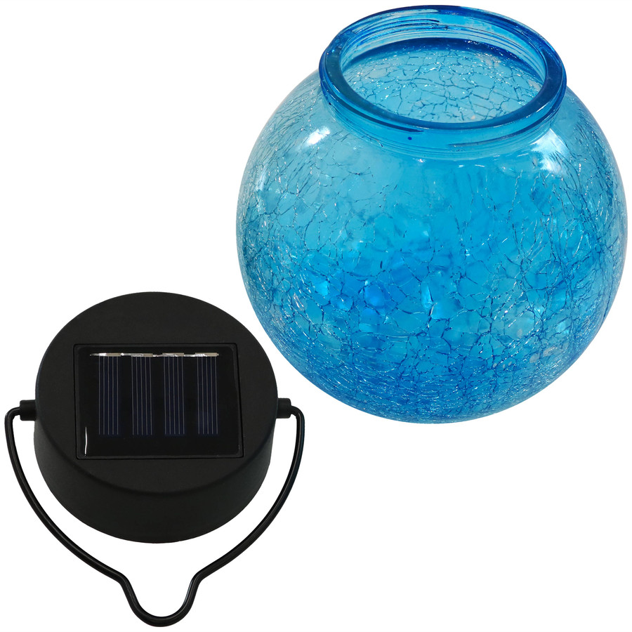 Components of Round Blue Glass Solar Light Jar