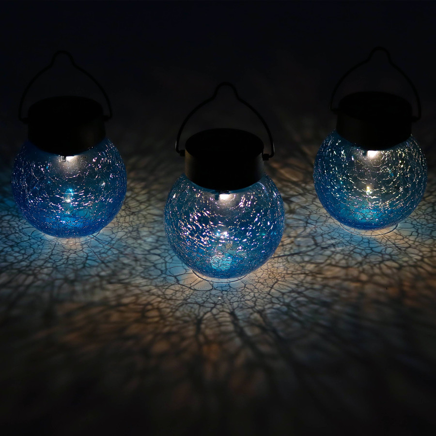 Round Blue Glass Solar Light Jar, Set of 3 at Night