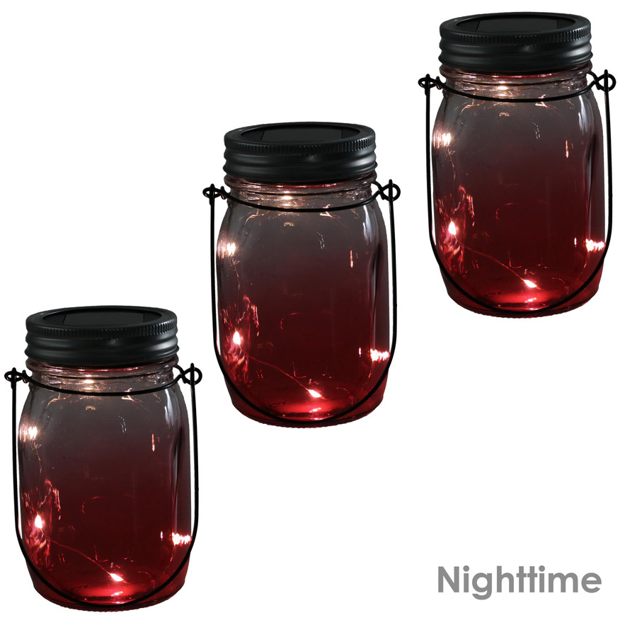 Red Ombre Solar Warm White LED Lighted Lantern Glass Jar, Nighttime View