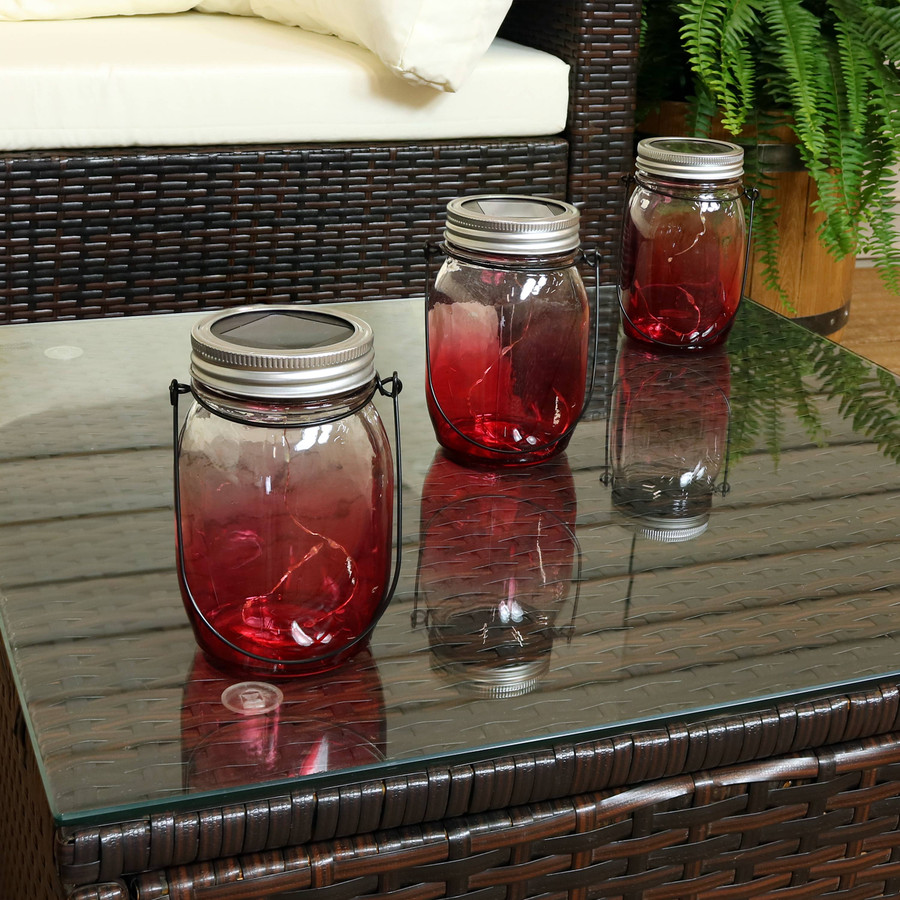 Red Ombre Solar Warm White LED Lighted Lantern Glass Jar, Set of 3