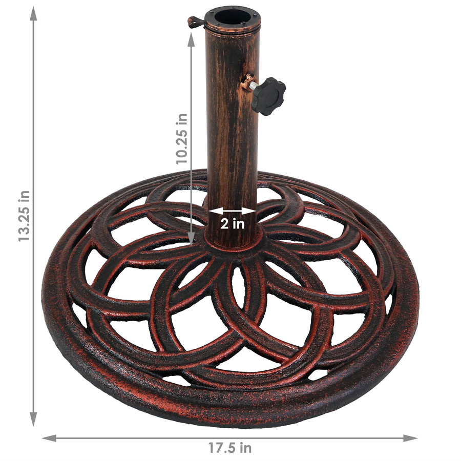 Cast Iron Umbrella Base with Celtic Knot Design, Dimensions