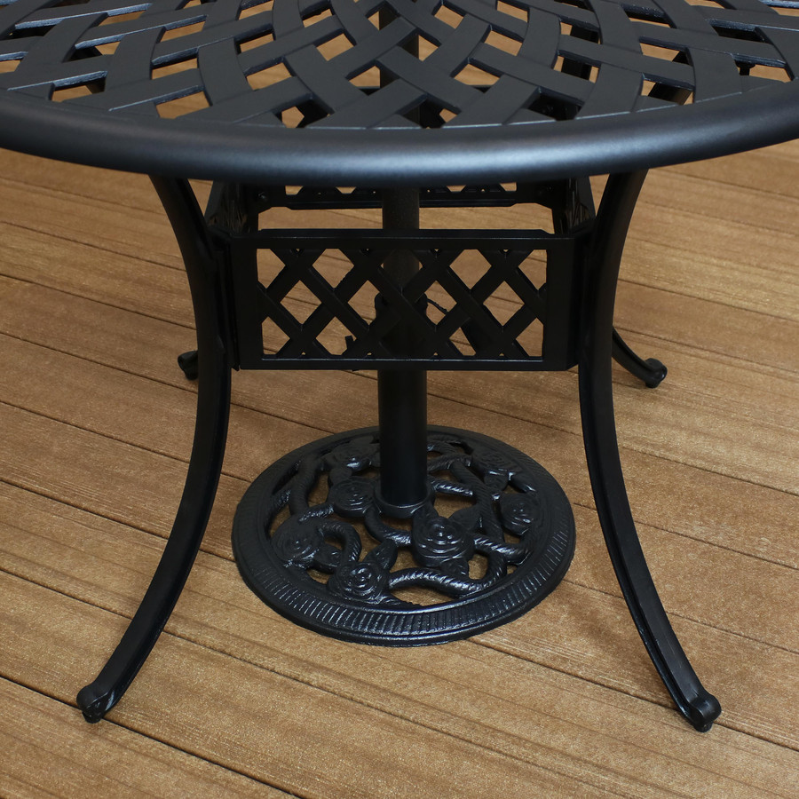 Cast Iron Patio Umbrella Base Under Table, Black (Table Not Included)