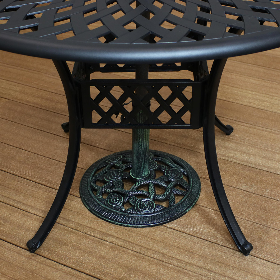 Cast Iron Patio Umbrella Base Under Table, Green (Table Not Included)