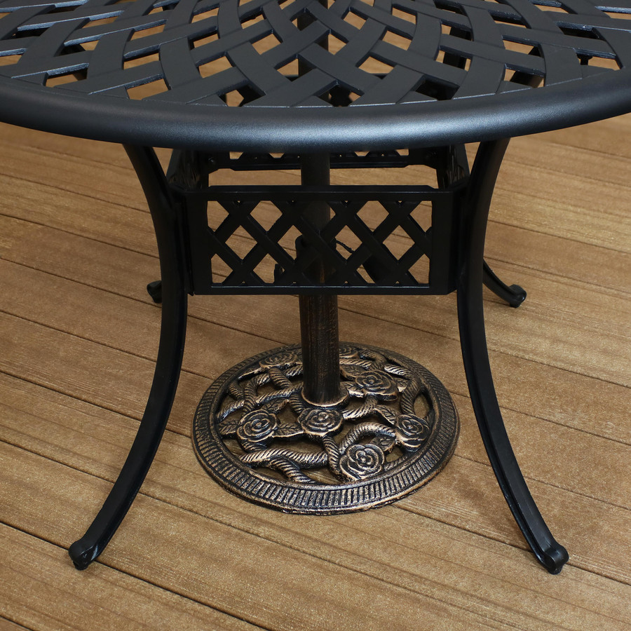 Cast Iron Patio Umbrella Base Under Table, Bronze (Table Not Included)