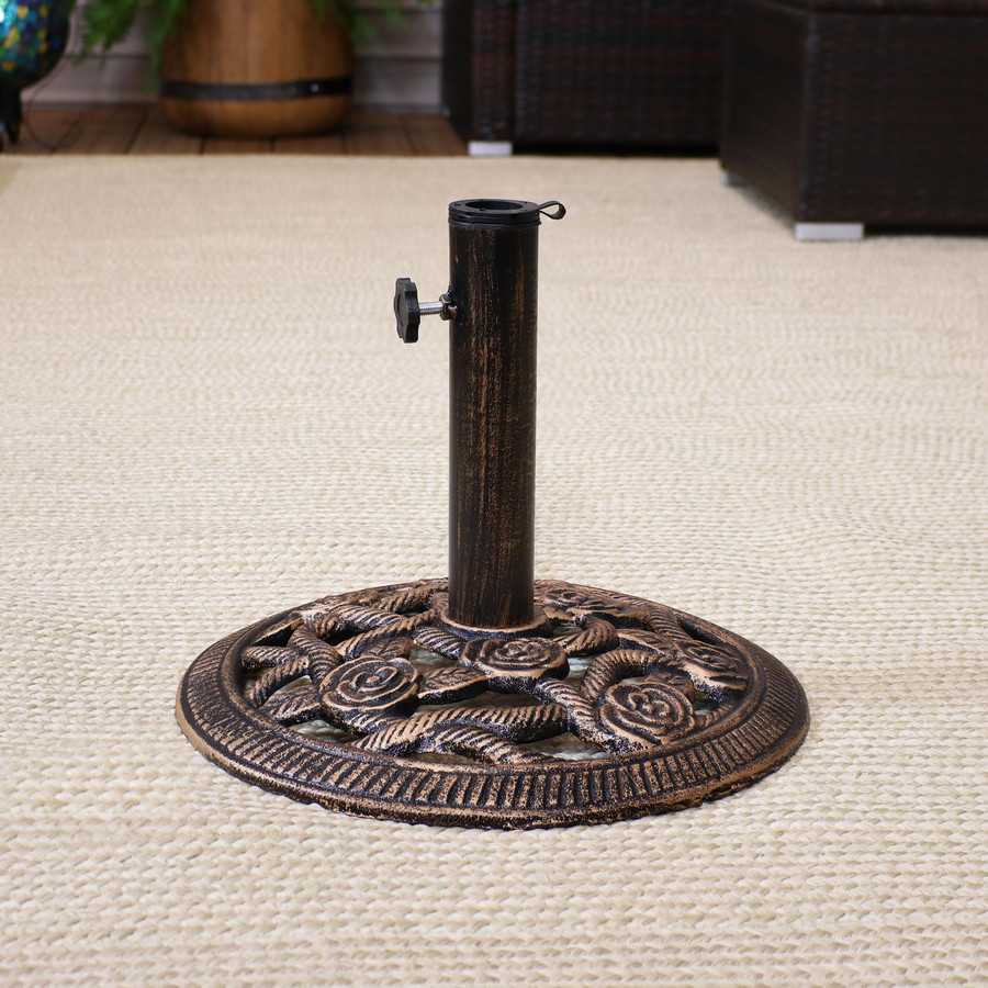 Cast Iron Patio Umbrella Base with Rose Blossom Design, Bronze