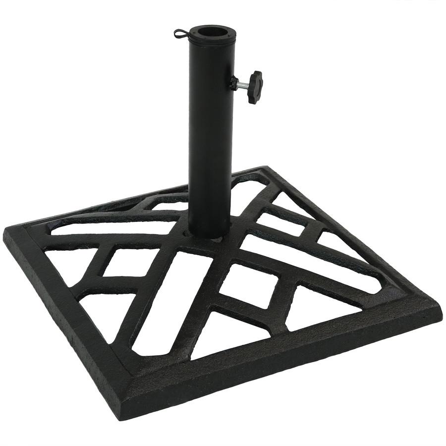 Modern Geometric Cast Iron Patio Umbrella Base