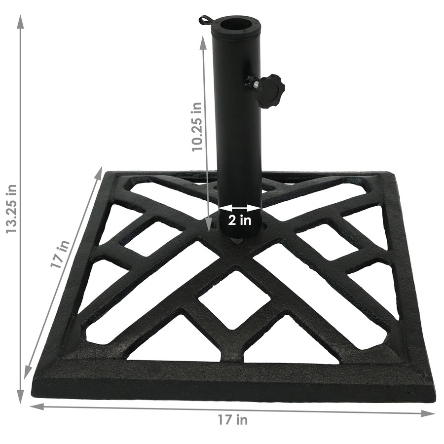 Modern Geometric Cast Iron Patio Umbrella Base, Dimensions