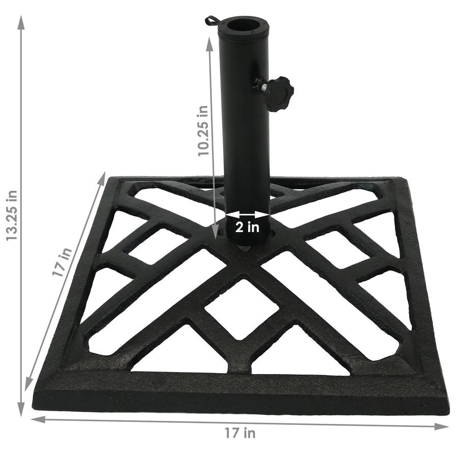 Modern Geometric Cast Iron Patio Umbrella Base, Dimensions