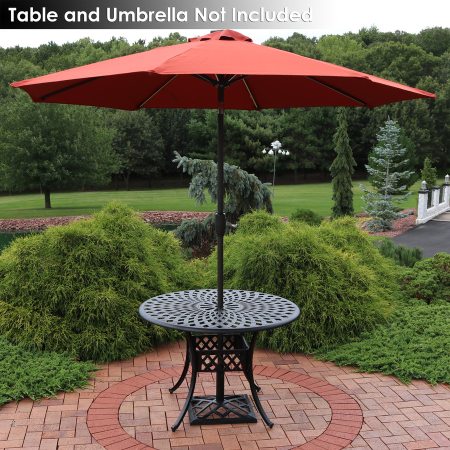 Modern Geometric Cast Iron Patio Umbrella Base