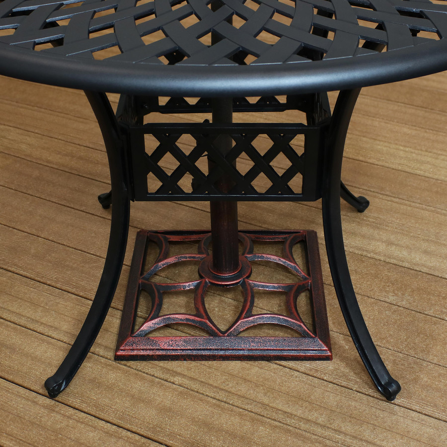 Square Cast Iron Patio Umbrella Base with Contemporary Curved Design