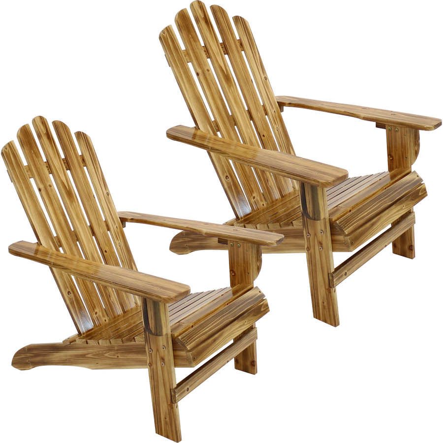 Rustic Wooden Adirondack Chair with Light Charred Finish, Set of 2