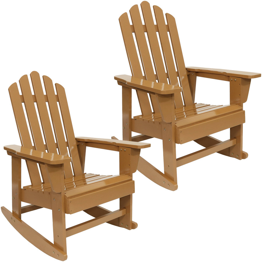 Outdoor Wooden Adirondack Rocking Chair with Cedar Finish, Set of 2