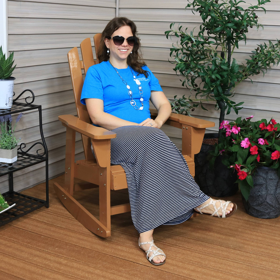 Outdoor Wooden Adirondack Rocking Chair with Cedar Finish
