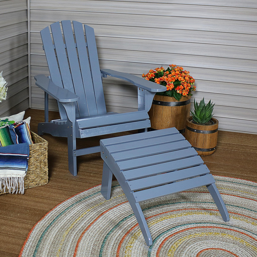 Sunnydaze Classic Wooden Adirondack Chair and Ottoman Set, Multiple Color Options Available