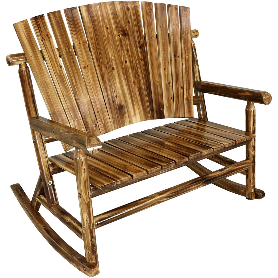 Rustic Fir Wood Log Cabin Rocking Loveseat