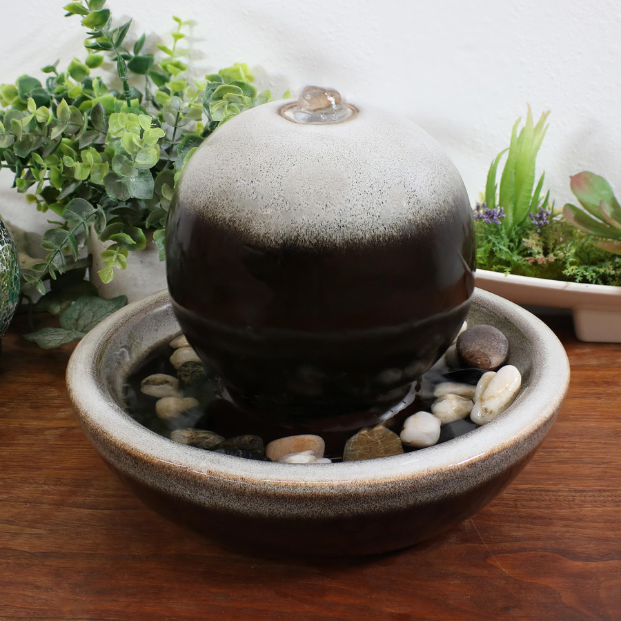 Ceramic Tabletop Water Fountain with Modern Orb Design