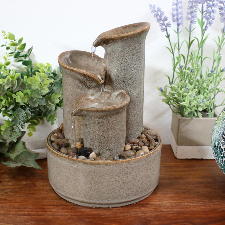 Tiered Carafe Ceramic Indoor Tabletop Water Fountain