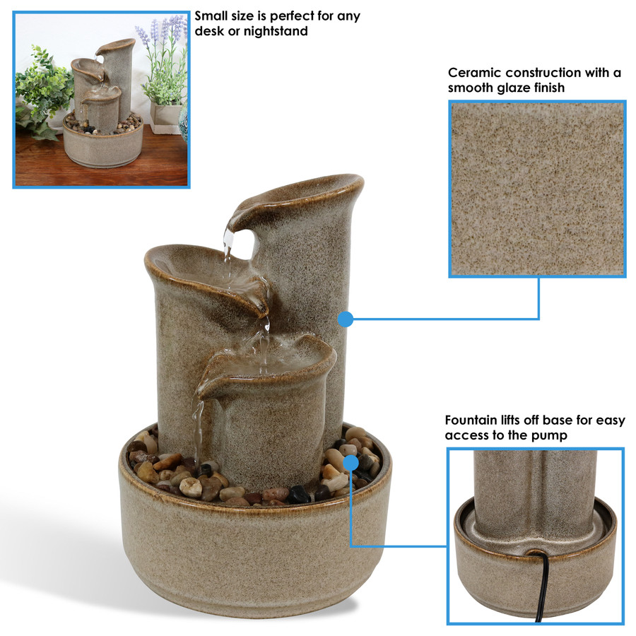 Sunnydaze Tiered Carafe Ceramic Indoor Tabletop Water Fountain, 10-Inch