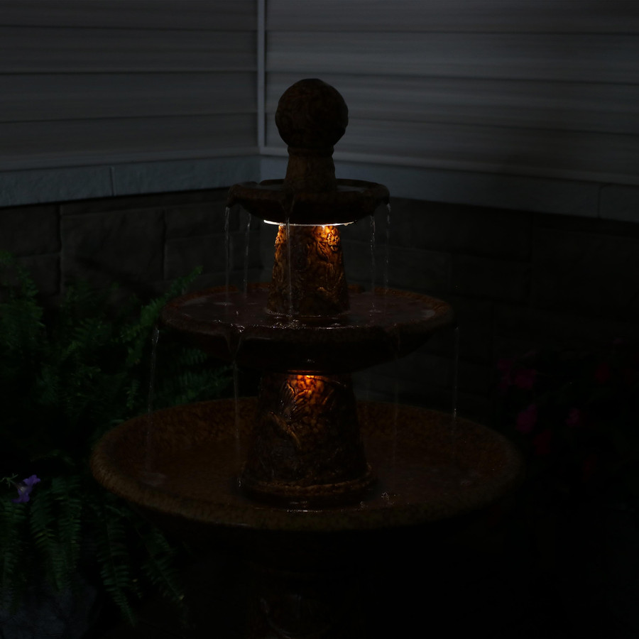Closeup of Fountain Tiers, Nighttime