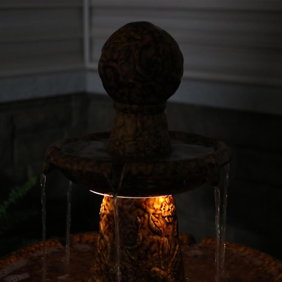 Closeup of Top of Fountain, Nighttime