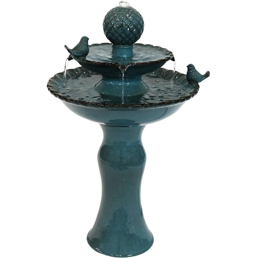 Resting Birds Ceramic 2-Tiered Outdoor Water Fountain
