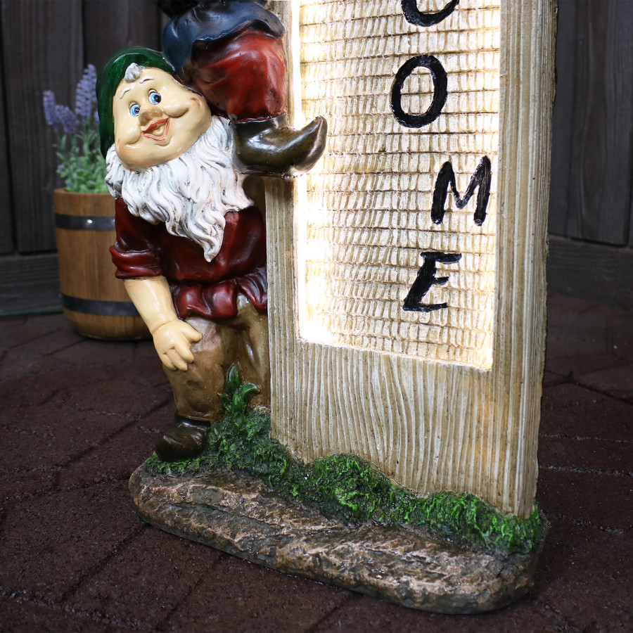 Sunnydaze Gnome Welcome Committee Outdoor Water Fountain Decor with LED Lights, 31-Inch